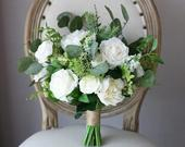 READY TO SHIP, White Wedding Bouquet Greenery, Wedding Flowers, Bridal Bouquet, Silk, Artificial, Peonies, Bridesmaid Bouquet, Rustic