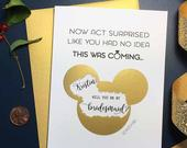 Personalized Bridesmaid proposal Disney Scratch off Bridesmaid card Disney bridesmaid gift box NOW ACT surprised Bridal party card