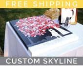 Canvas Wedding Tree Guest Book // Art Print With Personalized Skyline Silhouette // Wedding Art Keepsake // 175 Signature // WT051PS HH3