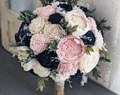 Navy and Blush Sola Wood Flower Bouquet with Babys Breath and Greenery Bridal Bridesmaid Toss
