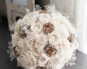 Ready to Ship Free Shipping!! All Ivory / Raw Sola Wood Flower Bouquet with Babys Breath Bridal Bridesmaid Toss