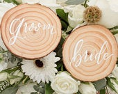 Wood Slice Calligraphy Place Cards Bride Groom