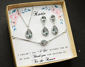 charcoal gray black gray silver Wedding Jewelry bridal Bridesmaid Earrings necklace bracelet gray bridesmaid gift set mother of the bride