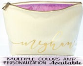 CUSTOM gift, makeup bag, gift for girlfriend , Personalized gift , Canvas cosmetic bag, Bridal gift , Zipper pouches Weddings