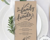 Wedding Place Setting Thank You Card for our family and friends, Instant Download Editable PDF Template, Kraft rustic design (TED4082h)