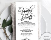 Wedding Place Setting Thank You Card, Editable PDF Template, our family and friends, modern Kraft rustic design, wedding dinner (TED36411h)