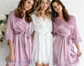 Lace Bridal Robe/ Bridesmaid Robes/ Bride Lace Robe/ Bridesmaid Gifts / Satin Robe/ Wedding robes/ Bridal Party Robes/ (Blossom Lace Text)