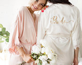 Bridesmaid Robes Bridesmaid Gifts Bridal Party Robes Wedding Robes Bride Robe Bridesmaid Robe Bridal Party Robe (TULIP LACE)