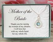 Gift for mother of the bride from groom, Swarovski birthstone infinity necklace, Thank you bridal wedding jewelry gifts