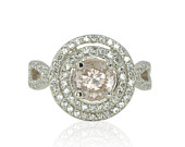 Morganite Engagement Ring with Round CZ Double Halo and Twisted Shank in 14k White Gold Diamond Alternative Empress Collection LS4470
