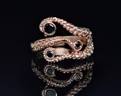 SALE! Tentacle Ring, Wedding Band, Octopus Ring Seductive 14K Tentacle Ring in Rose Gold and Black Diamonds by OctopusME
