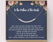 Mother of the Bride Necklace Pearl Bar Necklace Wedding Jewelry Gift Mother of the Bride Gift, from bride, Simple Jewelry, W12