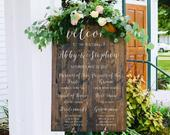 Bridal Party Sign Wedding Program Sign Ceremony Sign Wedding Party Sign Wooden Wedding Signs Sophia Collection