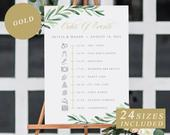 Greenery Wedding Timeline Sign, Gold Calligraphy, Order Of Events Templates, Custom Wedding Itinerary Signs, Printable Wedding DOWNLOAD