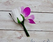 Cream Rose Bud Boutonniere, Orchid Boutonniere, Rustic Wedding, Boho Wedding, Rustic Flowers, White Rose and Orchid Boutonniere, Buttonhole