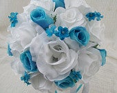 Pool and White Bridal Bouquet Wedding Flowers Destination Wedding Silk Flowers Custom Made To Order 2 Piece Boutonniere Bouquet