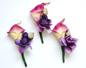 Pink and Purple Real Touch Calla Lily Boutonniere, Wedding Flowers, Floral Arrangement, Rustic Flowers, Boho Wedding, Beach Wedding