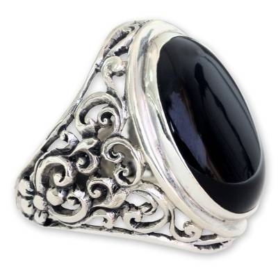 Men's Handmade Sterling Silver and Onyx Ring