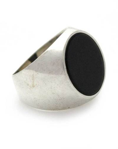 Men's Sterling Silver and Onyx Ring
