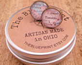 Map Cufflink, Custom map of your choice, Choose your finish, Keep a memory alive
