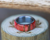 Mens Wood Wedding Ring Featuring RedStained Spalted Maple Staghead Designs