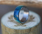 Blue Wedding Ring Spalted Maple Wood Wedding Band Staghead Designs