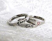 Stackable Name Rings, Silver Stacking Rings, Personalized Moms Rings, Child Name Rings, Custom Stamped Rings, Flat Front Ring