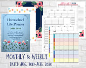 Homeschool Life Planner Calendar Dated Weekly Monthly 20192020, Classical Schooling Lesson Plans Printable PDF Download