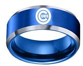Chicago Cubs Blue Stainless Steel Team Championship Ring, Mens Wedding Band Ring, Cubs Team Logo Jewelry for Men, Husband, Fiance, Mens Gift