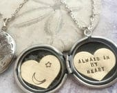 Custom name locket necklace, Personalized necklace, Custom hand stamped, Always in my heart, moon and star locket necklace