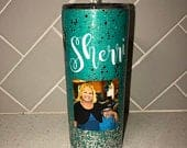 Personalized Photo Glitter Tumbler Stainless Steel Travel Mug Custom Coffee Cup Glitter Tumbler Epoxy Tumbler