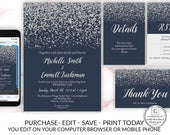 Navy Blue Silver Diamond Wedding Invitation Set Package Template Glitter Confetti Electronic Online DIY Cheap Invitations Blue Silver Insert