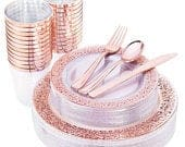 150 Pcs Rose Gold Plastic Plates Silverware Disposable Cups, Laced Design Includes 25 Dinner Plates 10.25, 25 Dessert Plates 7.5, 25