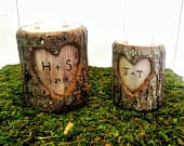 Romantic 5th Anniversary Gift, Personalized Initial 5 Year Wooden Anniversary, Woodland Natural Tree Branch Candle Holder, Gifts for Couples