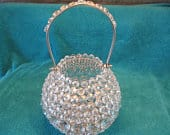 Bedazzled crystal basket/candle holder makes a statement or centerpiece at weddings, baby showers, Easter parties, or just around your home!