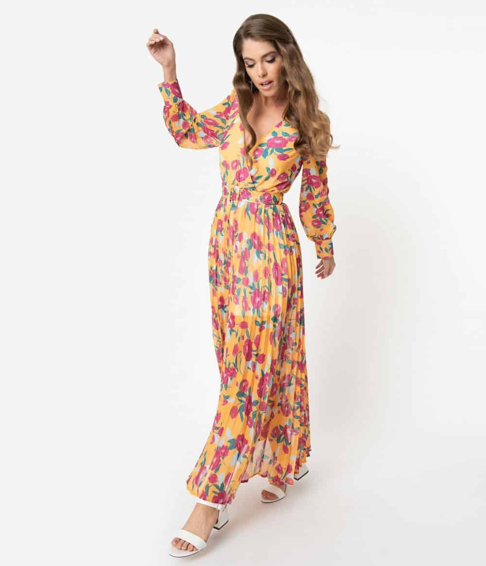 1970S Style Marigold Yellow & Fuchsia Floral Belted Maxi Dress