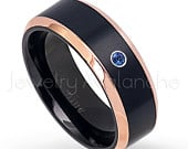 0.07ct Blue Sapphire Solitaire Band, September Birthstone Ring, Black IP Rose Gold Plated 2Tone Comfort Fit Titanium Wedding Band TM581