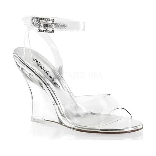 Women's Fabulicious Lovely 406 Wedge Sandal, Size: 8 M, Clear PVC/Clear