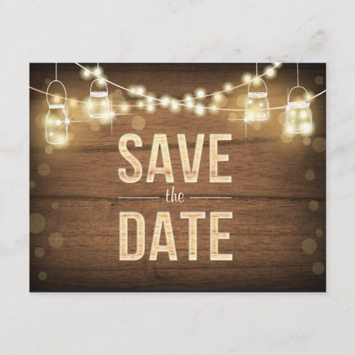 Rustic Save the Date String Lights Mason Jars Wood Announcement Postcard