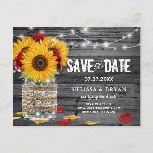 Rustic Sunflower Rose Wedding Wood Save the Date Announcement Postcard