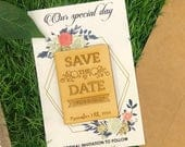 Rectangle Save The Date, Save Our Date, Classic Invite, Wood, Bohemian Wedding, Natural, Invitation Suite, Art Deco Wedding, Event Invite