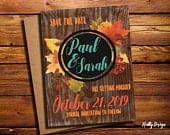 Fall Leaf Save the Date, Save the Date with Leaves, Teal Save the Date