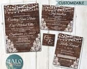 Rustic Lace Wedding invitation, ANY COLOR, Rustic Wedding invitation, rustic invitations
