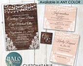 Rustic Lace Wedding Invitations blush, dusty rose, pink, any color