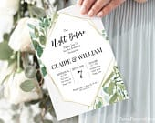 Wedding Rehearsal Invitation Geometric Frame Design, The Night Before Green Foliage Invite, 100% Editable, Templett PPW0480