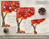 Fall Wedding Invitations Autumn Oak Tree Wedding with Rustic Tree Leaves Fall Wedding Invitations with initials carved in tree Fall Leaves