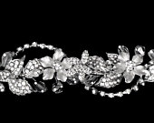 Rhinestone Floral Tiara with Floating Crystals