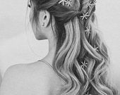 Crystal Star Hair Pins I Crystal Floral Hair Pins I Rhystones Hair Accessories I Bridal Accessories