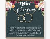 Mother of the Groom Gift Necklace: Wedding Gift, Bridal Party, Rehearsal Dinner, Man of My Dreams, Parent of Groom, 2 Interlocking Circles
