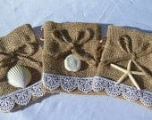 Burlap, Seashell, and Lace Sachet Bags for Gifts and Wedding Favors 24 Pieces
